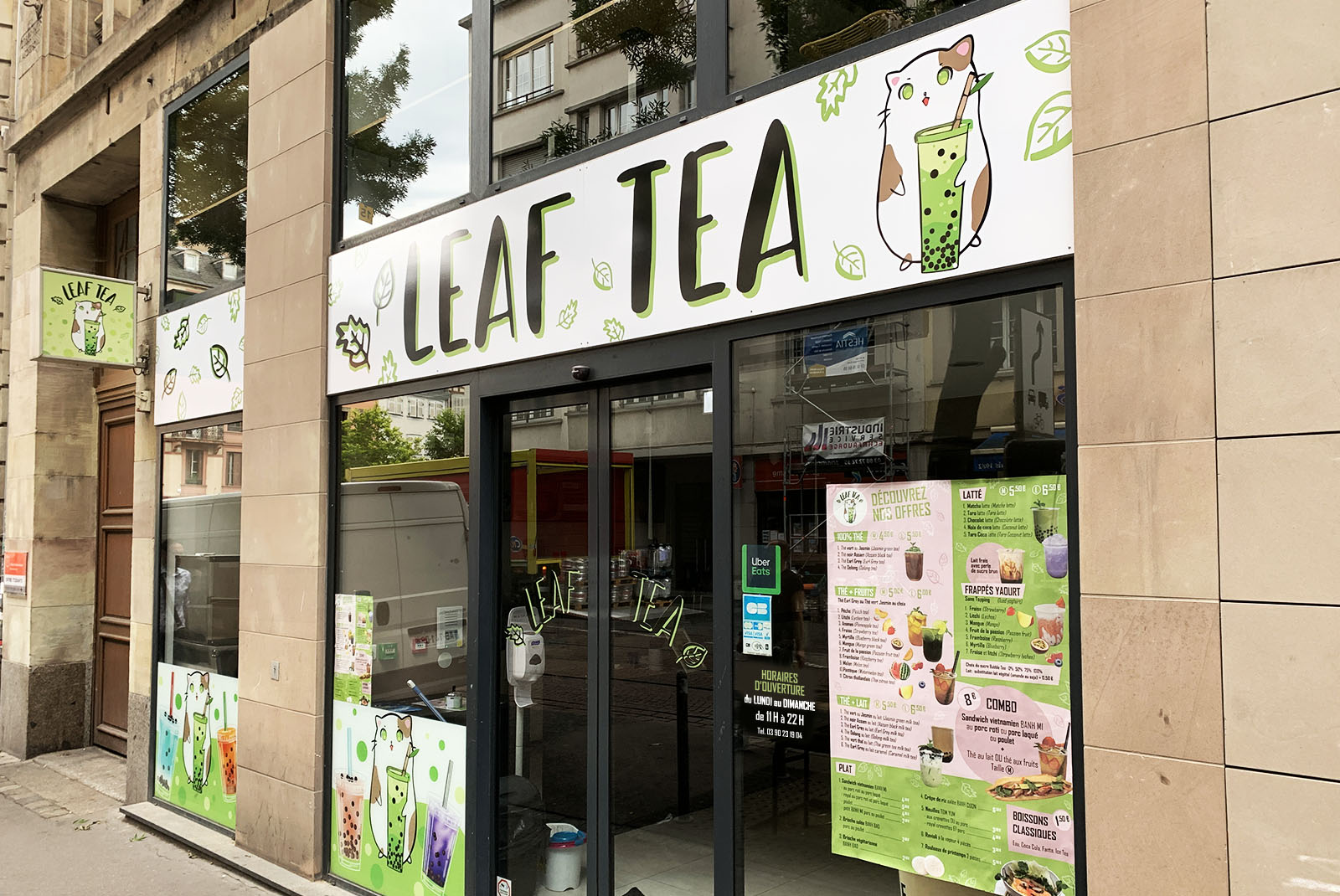 Signalétique façade LEAF TEA